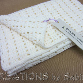 "Baby Crochet Afghan Blanket, Lap Blanket Throw, 30x37"", Off White Soft READY TO SHIP (19)"