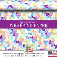 Spring Mosaic Gift Wrapping Paper | Custom Gift Wrap For Easter Or Spring In Two Sizes Great For Any Occasion. Made In The USA