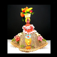"Jamaican Doll, Colorful Fruit Basket on Head, Dolls of the World, 8"" Doll, Woven Jute Skirt with Raffia Embroidery, Vintage 1950-60s"