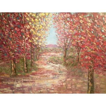 """Abstract Autumn Trees Fall Landscape Impasto"", 40x30"" Original Oil Painting by artist Sarah Kadlic"