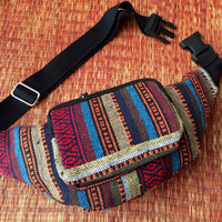 Fanny packs festival Ikat tribal Boho bum bag Hipster Styles Hiking belt belly Pouch phanny waist bags Hippies Gypsy Bohemian orange Blue