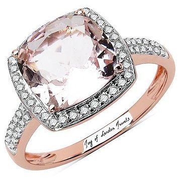 10K Rose Gold Natural 2.5CT Cushion Cut Morganite White Diamond Halo Ring