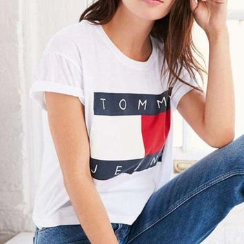 Tagre FREE SHIPPING Tommy Hilfiger Tommy men and women classic tee shirt T-shirt