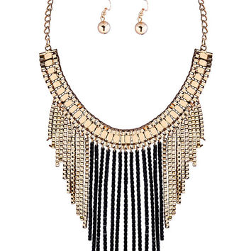 Chain Fringe Necklace and Earrings