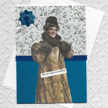 Blue Card For Those Who Can Do Anything - Vintage Style Collage Art Victorian Woman - Stick to It