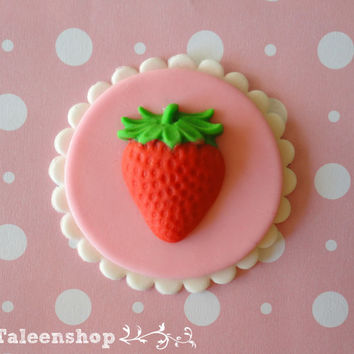 Strawberry theme cupcake topper / pink / white