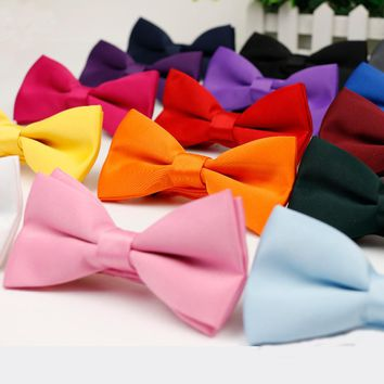 Men's Kid's Bow Tie High Quality Flexible Bowtie Smooth Necktie Soft Matte Butterfly Decorative Pattern Solid Color Ties
