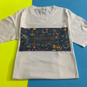 Vintage SINGAPORE T Shirt / Southeast Asia Travel Tourism Souvenir Shirt / Classic Retro Unisex White Shirt / Blue Floral Rectangle Graphic