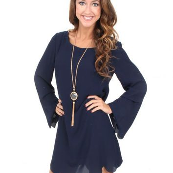 Hey Pretty Girl Navy Scalloped Shift Dress | Monday Dress Boutique