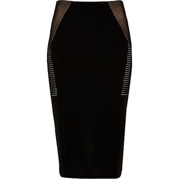 Black mesh panel midi pencil skirt