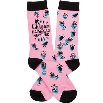Queen Of Damn Near Everything Socks in Pink and Black