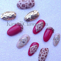 Sexy red, nude and gold leopard & glitter nails Japanese 3D Nail Art negative space mani