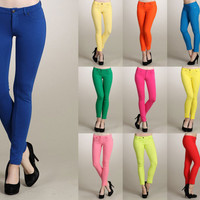 Women Slim Fit Solid COLORED Jeggings Ankle Stretch SKINNY JEAN PANTS Leggings