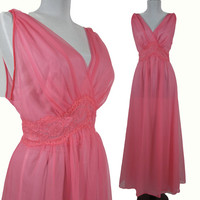 Vintage Lingerie, Long Chiffon Pink Nightgown, size 36