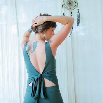Open Back Wrap Dress, Fairy Dress, Womens Backless Dress,  A-symmetric Dress, Green Dress