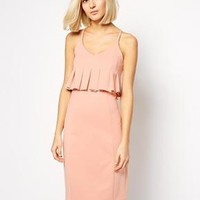 Lavish Alice | Lavish Alice Pleated Peplum Body-Conscious Midi Dress at ASOS