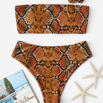 Random Snakeskin Bikini Set With Hair Tie