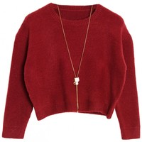 Simple Solid Cropped Knit Sweater - OASAP.com
