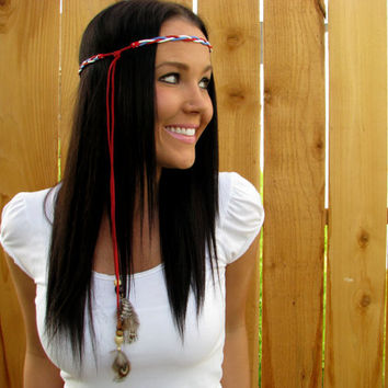 Boho Indian Red White Blue Braided Suede Leather Cord w/ Wood Beads & Natural Feather Halo Hair Headband Necklace Accessories Girl Woman