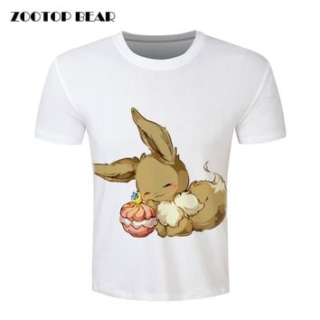 Pokemon Eevee T shirt Vibrant Cute Anime T-shirt Summer Fashion Casual Tee Tops Man Clothing Camisa Alisister 2016 ZOOTOP BEAR