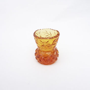 Vintage Miniature Amber Cut Glass Vase, Mini Bud Vase, UK Seller