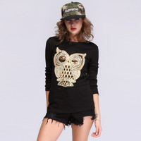 Owl Pattern  Long Sleeve Sequined Long Sleeve Top