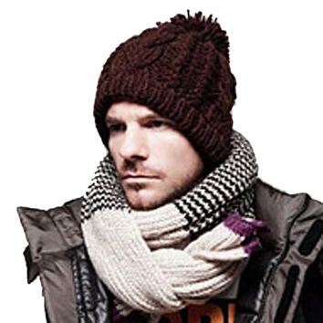 2017 High Quality  Men Slouchy Beanie Long Knit Cap Oversized Winter Unisex Hat Y8043