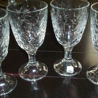 Vintage Glasses, Crystal Goblet Glasses by Princess House, Fantasia Pattern