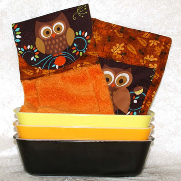 3 Piece Set • Hanging Hand Towel • 2 Potholders • Autumn Owls Kitchen Towel • Owl Hot Pads • Autumn Decoration • Fall Kitchen Decor • Orange