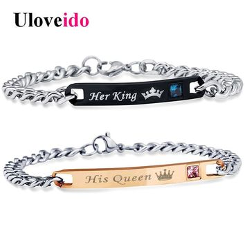 Cool Uloveido Her King and His Queen Bracelets for Women and Men Jewelry Stainless Steel Bracelet for Couple Wedding Jewellery SN116AT_93_12