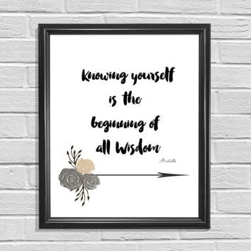 Printable Art Confucius Quote Typography Art Arrow Floral Print
