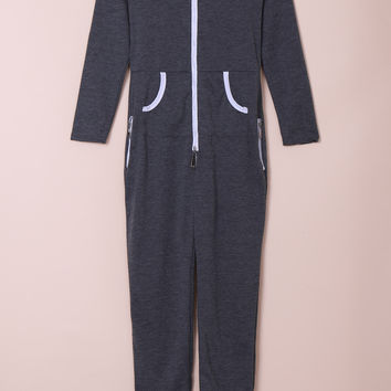Gray Hooded Zippered Long Sleeve Bodycon Jumpsuit