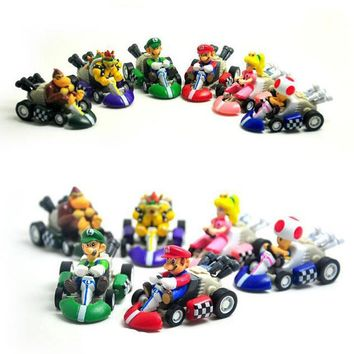 Super Mario party nes switch 6pcs/Lot 5cm  Bros Karts Pull Back Cars PVC Action Figure Collection Model Toys Dolls Christmas Gift AT_80_8