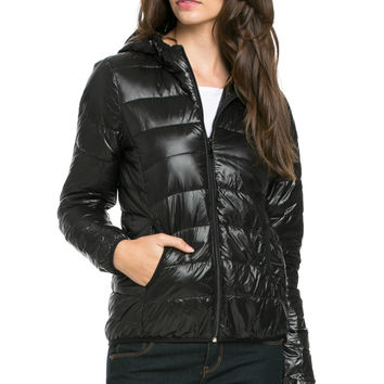 Lightweight Puffer Down Hooded Jacket Black