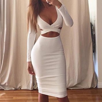 Fashion Sexy Long Sleeve Hollow Low-breasted Women's Dresses White
