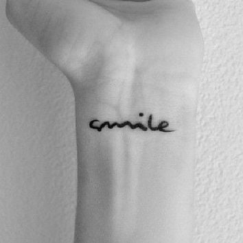 InknArt Temporary Tattoo - 2pcs SMILE hand writing temporary tattoo wrist neck ankle