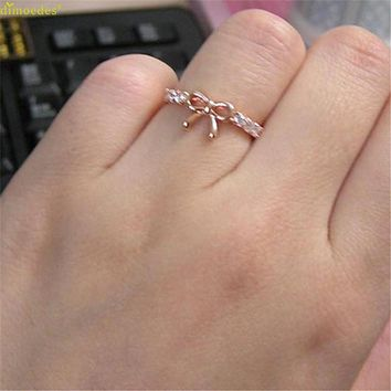 HOT Simple Crystal Bow Ring Gold and Silver
