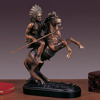 Chief on Horse Bronze Figurine- 10""