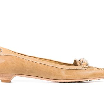 50f0915e0ba Car Shoe By Prada Women s Tan Leather Braided Pointed Toe Loafers