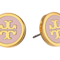 Tory Burch Lacquered Logo Studs Earrings Pink Blossom/Tory Gold - Zappos.com Free Shipping BOTH Ways