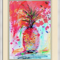 """Pink Splash Pineapple Modern Decorative Art"" by Ginette Callaway"