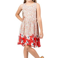 FLORAL PATTERN PRINT SLEEVELESS DRESS GIRLS
