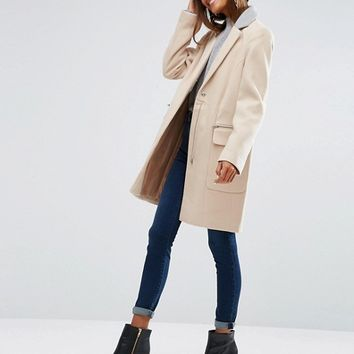 ASOS Coat in Classic Fit with Contrast Collar at asos.com