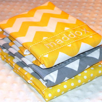 Personalized Burp Cloth Set - Set of 3 Personalized Baby Burp Cloths Gender Neutral Yellow Gray Chevron Polka Dots