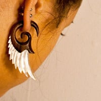 Fake Gauges, Handmade, Wood Earrings, Cheaters, Organic, Plugs, Split, Tribal Style - Angel Shell Wings  MOP Brown Wood