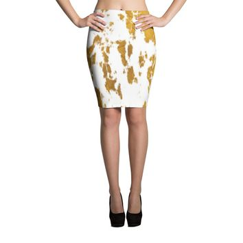 Gold and White Pencil Skirt