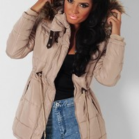 Butterscotch Beige Quilted Drawstring Parka Jacket | Pink Boutique
