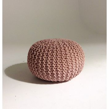 Handmade Round Knitted Pouf | Silver Pink | 50x35cm | GFURN