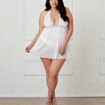 Dreamgirl Plus Size Bridal White Stretch Mesh and Lace Galloon Halter Babydoll