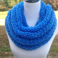 Blue Bcarf,Knitted Infinity Scarf ,Soft Neck Warmer Warm Scarf for Winter Double Knit
